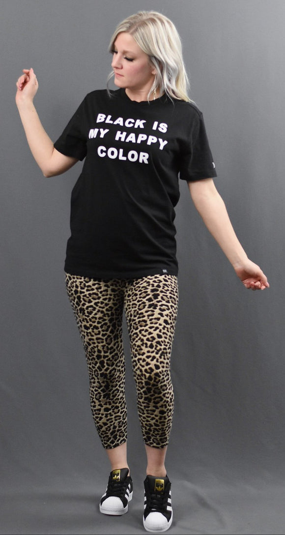 Tan Leopard Capri Leggings
