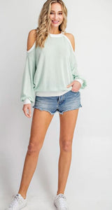 Serenity Cold Shoulder Top - Mint