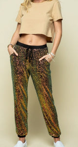 Glam On Sequin Joggers - Antique Rose Black