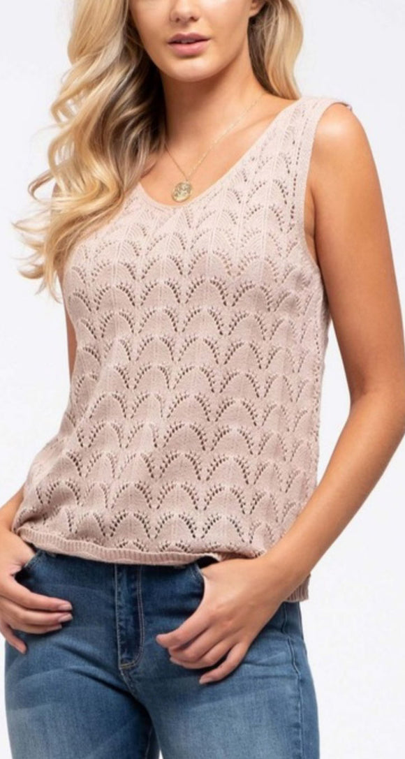 Savvy Knit Tank - Tan
