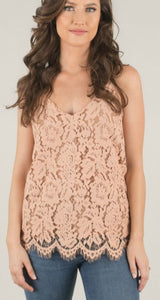 All Over Lace Cami - Taupe