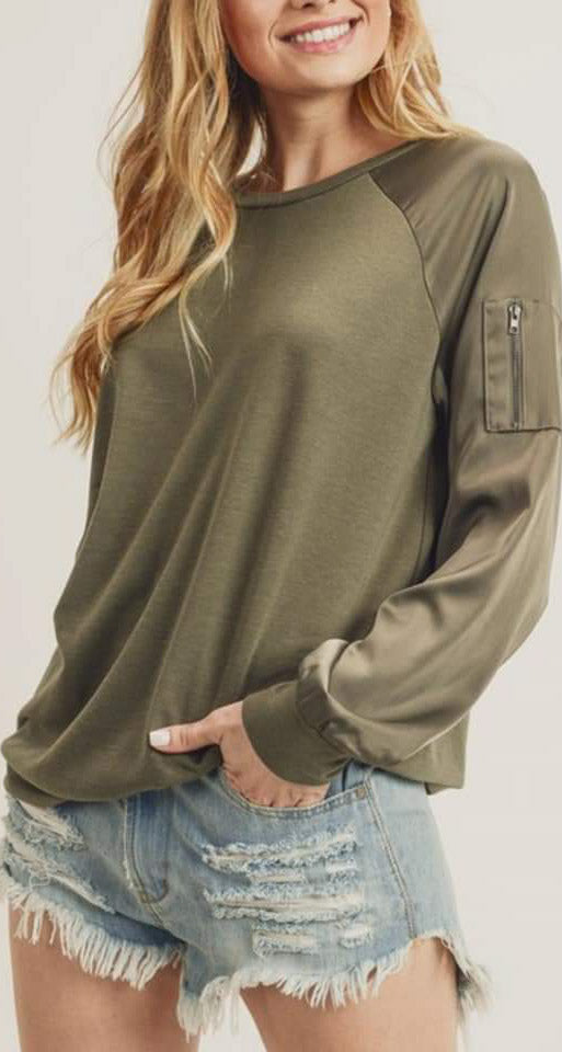 Ziva Bomber Style Pullover - Olive