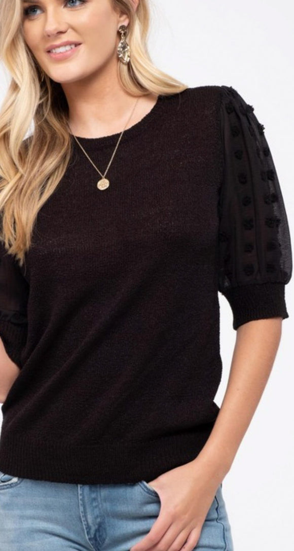 Gisele Pom Sleeve Top - Black