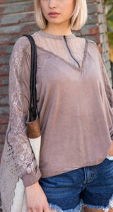 Timeless Zipper + Lace Top - Cocoa