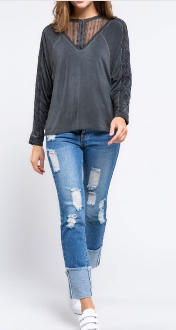 Timeless Zipper + Lace Top - Black