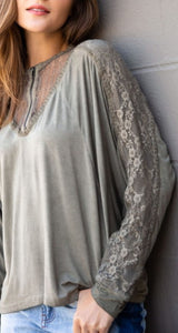 Timeless Zipper + Lace Top - Moss