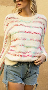 Stitch Please Sweater - Cream