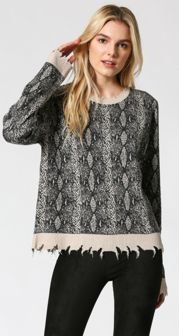 Snake Print Distressed Pullover Sweater