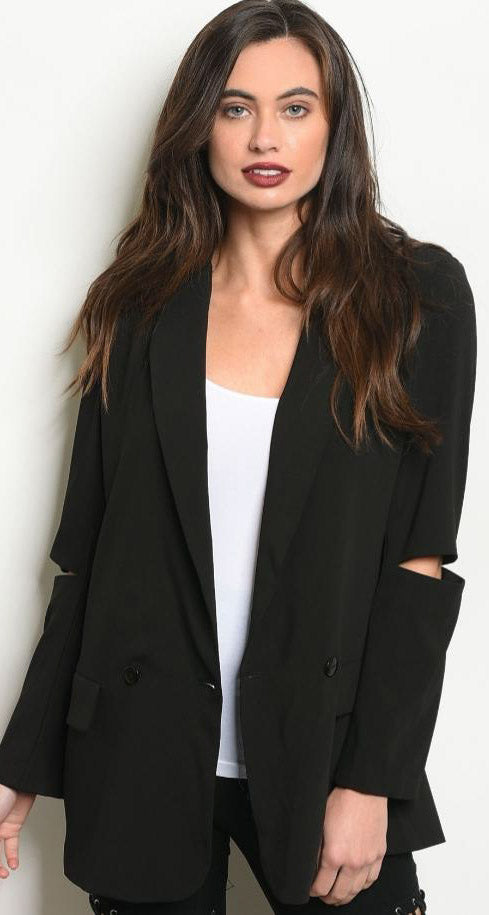 Slit Elbow Blazer