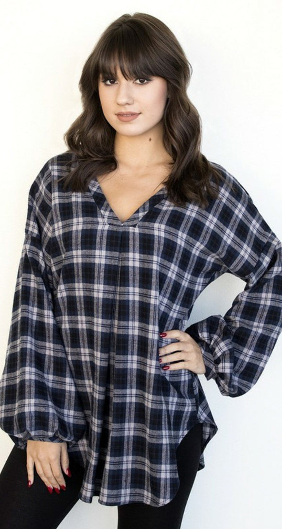 Balloon Sleeve Flannel Tunic