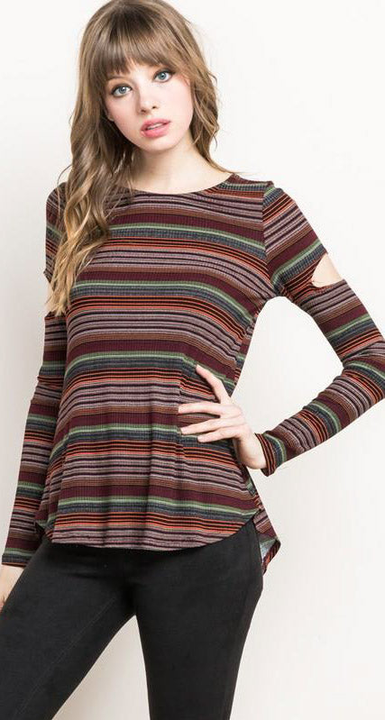 Wine Stripes Cut Out Sleeve Top