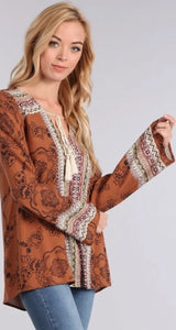 Boho Print Top with Bell Sleeves