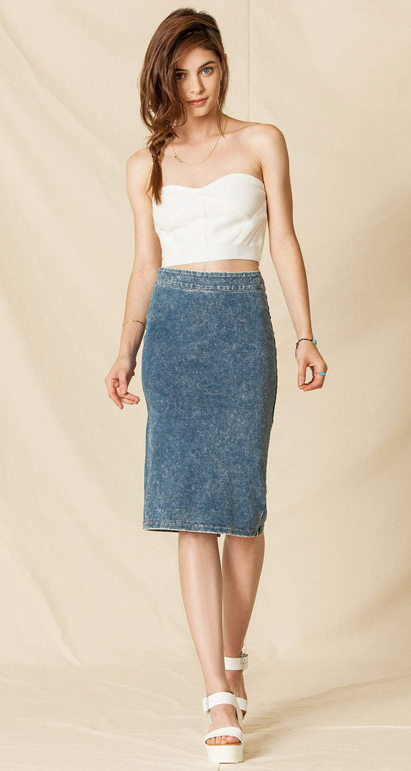 Knit Denim Cig Skirt