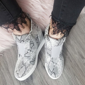 Zoey Wedge Sneakers - Snake