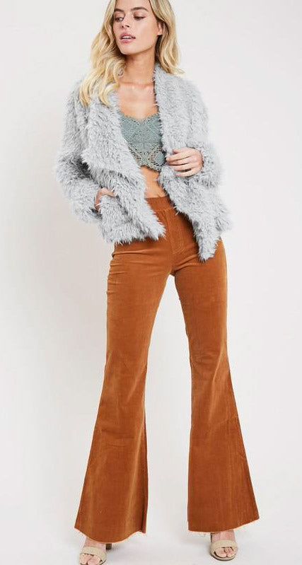 Drape Front Faux Fur Jacket