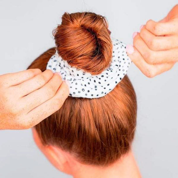 Microfiber Towel Scrunchie - White Micro Dot