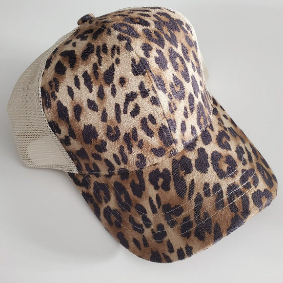 C.C High Pony/Messy Bun Ball Cap - Leopard