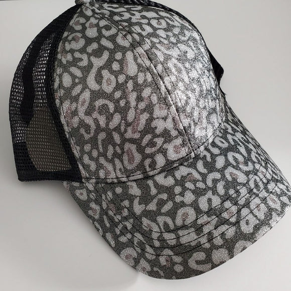 C.C High Pony/Messy Bun Ball Cap - Black Leopard Glitter