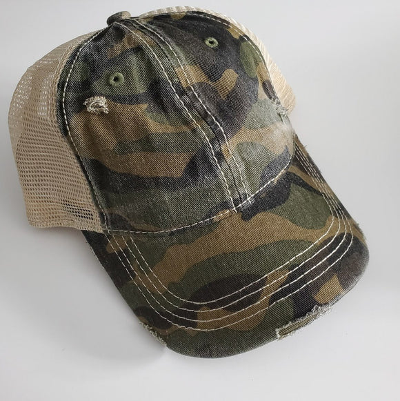 C.C High Pony/Messy Bun Ball Cap - Olive