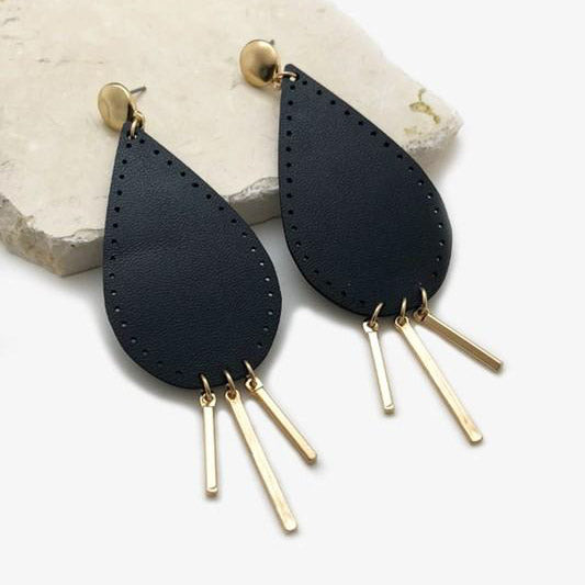 Leather Drop Bar Earrings