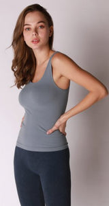 Comfort Stretch Tank/Waist Length - Bluestone