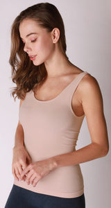 Comfort Stretch Tank/Waist Length - Iced Latte