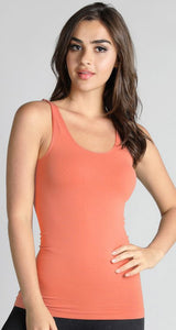 Comfort Stretch Tank/Long Length - Coral Peach