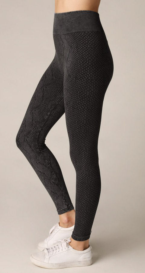 Snake Seamless Leggings - Vintage Black