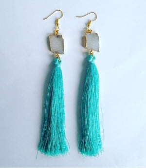 DRUZY TASSEL PENDANT EARRINGS