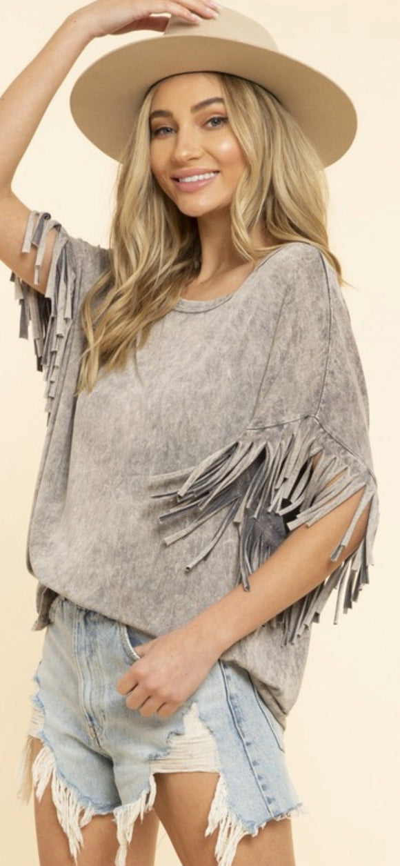 Wanderlust Fringe Top - Gray