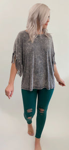 Tori Distressed Leggings - Jade