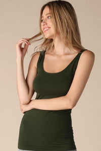 Reversible Comfort Stretch Tank - Olive Green