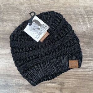 C.C Black Metallic Messy Bun/Pony Beanie