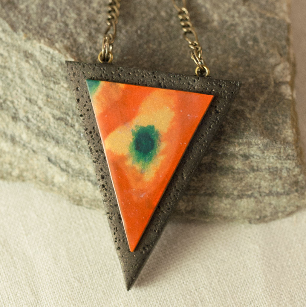 Triangle Tribal Pendant - Hand sculpted in Polymer Clay