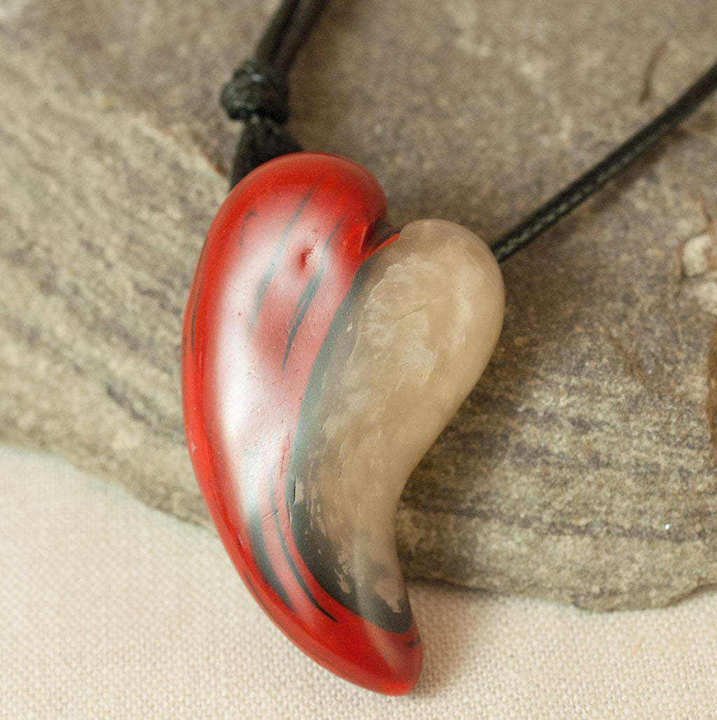 Red and White Yin Yang Heart Pendant