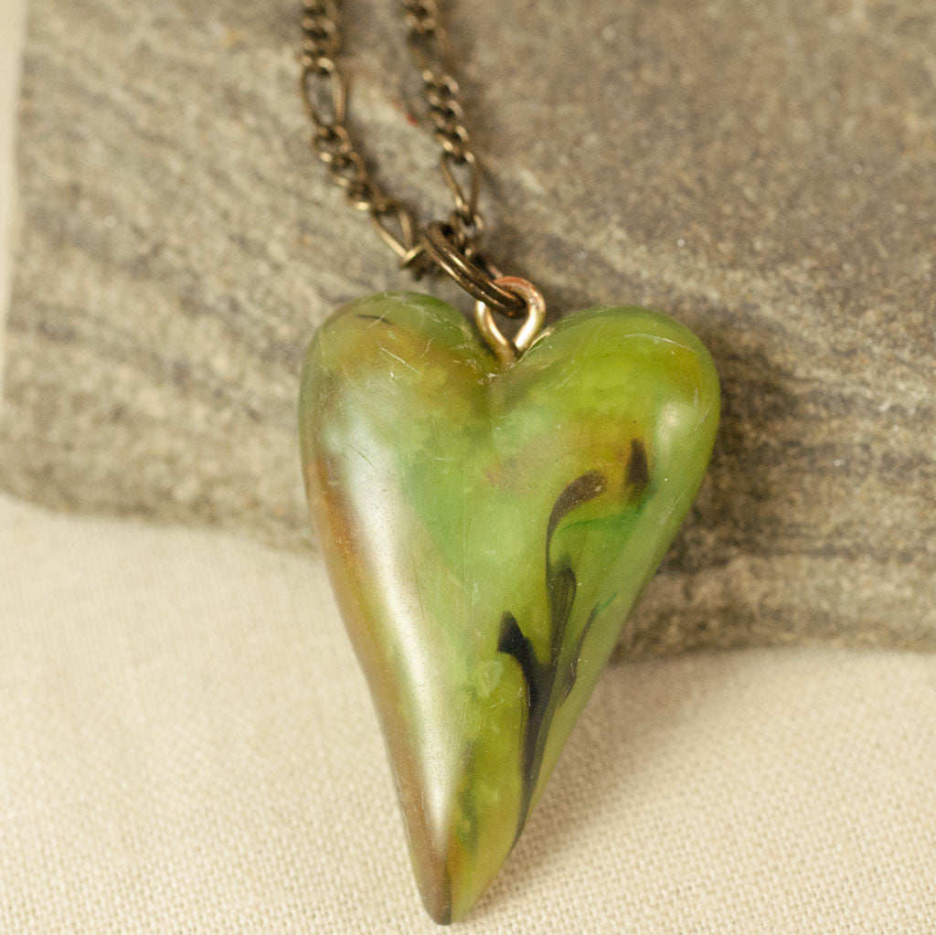 Green Heart Pendant - Faux Jade Polymer Clay