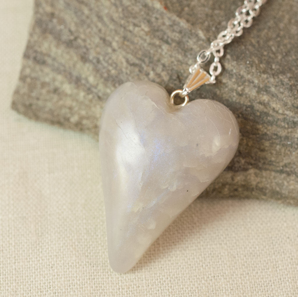 Heart Necklace - Handmade Jewelry Sculpted in Polymer Clay