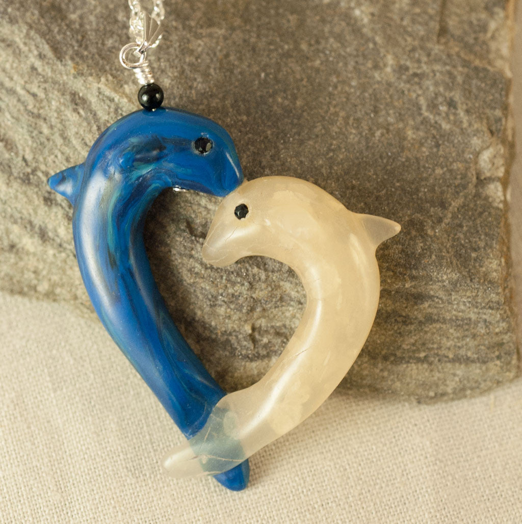 Heart to Heart 2 Dolphins Pendant by Classon Designs