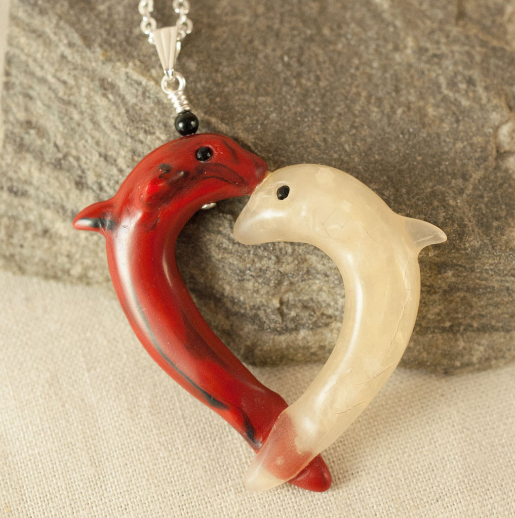 2 Dolphins Pendant - Heart to Heart - Kissing Dolphins - Animal Totem