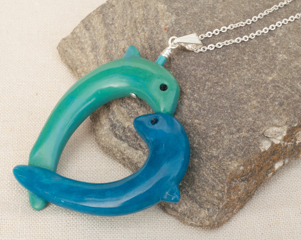 Dolphin Pendant - Heart Pendant - Turquoise Clay