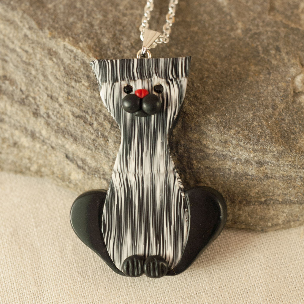 Whimsical Cat Pendant in Black and White