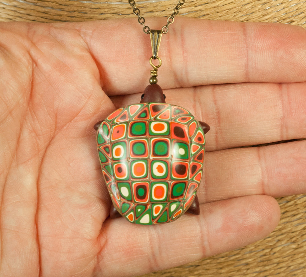 Sea Turtle Pendant in Sage, Peach and Brown