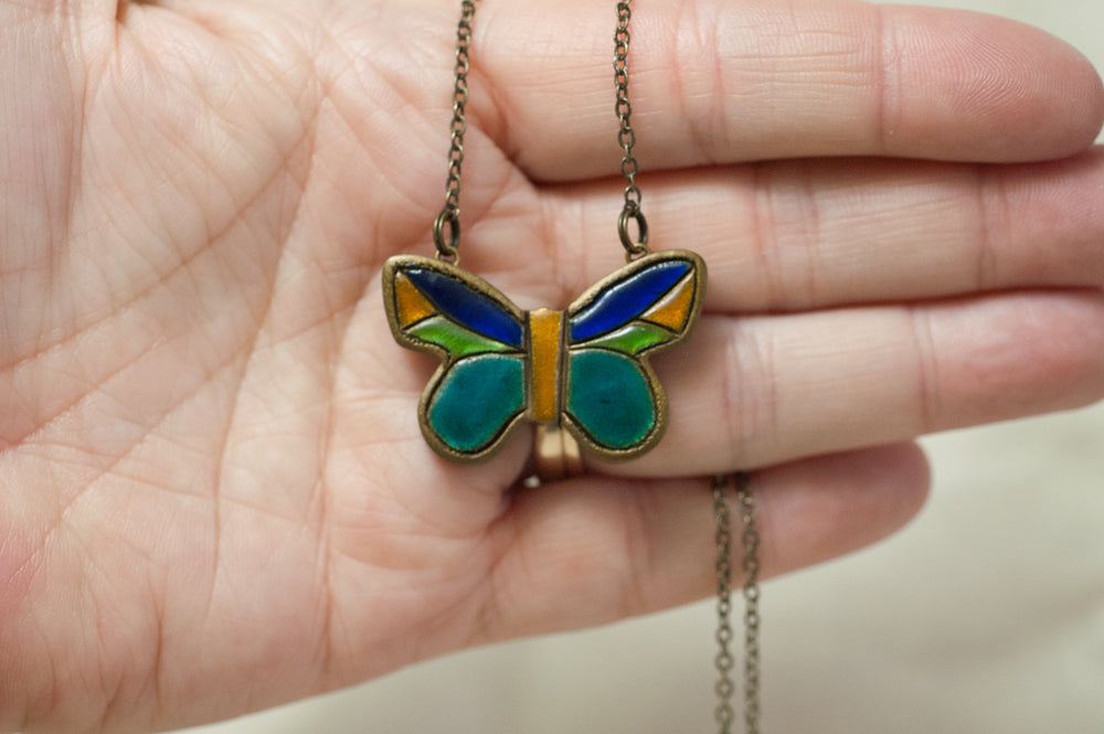 Hand Painted Butterfly Pendant Cloisonne Inspired Necklace