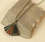 Japanese Fan Necklace - Hand painted Clay Fan Pendant