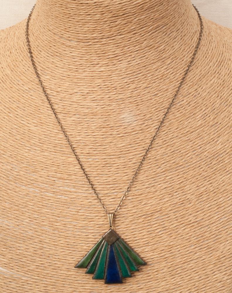 Japanese Fan Necklace - Oriental Fan Pendant - Blue