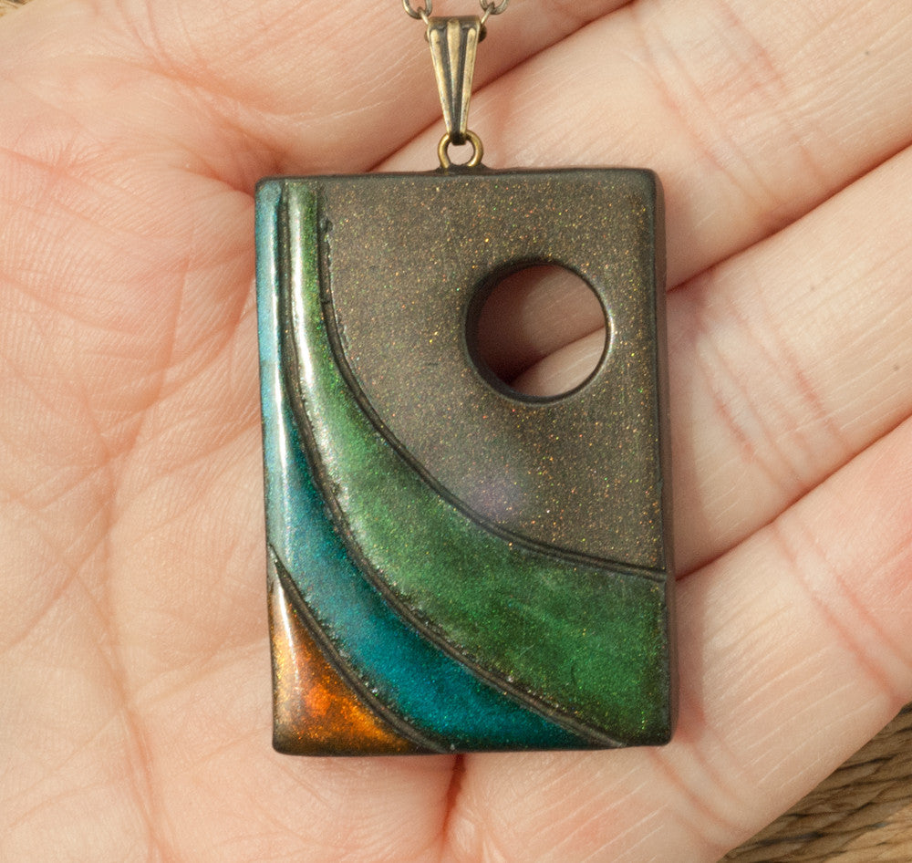 Ocean Wave Necklace under the New Moon Rectangle Pendant