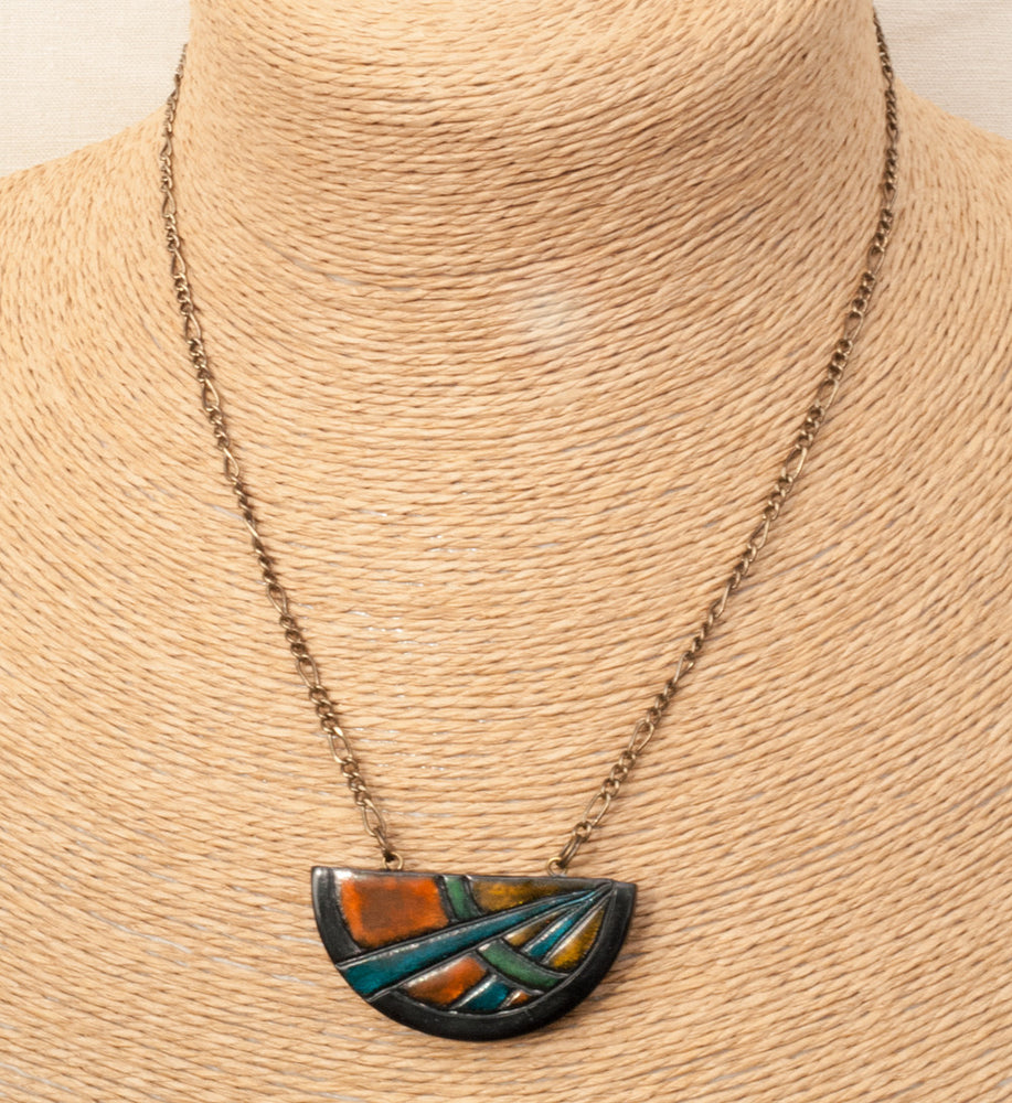 Statement Necklace - Hand Painted Art Deco Pendant