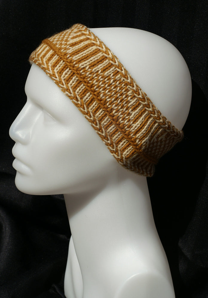 100% Wool Hand Knit Nordic Knit Headband