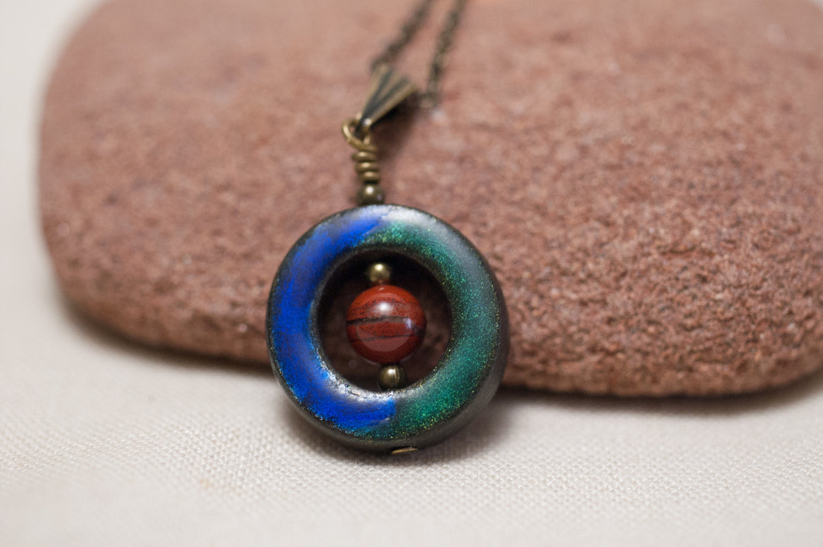 Lifesaver Pendant with Red Jasper Gemstone Bead