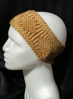 100% Wool Hand Knit Nordic Headband in Gold & Natural